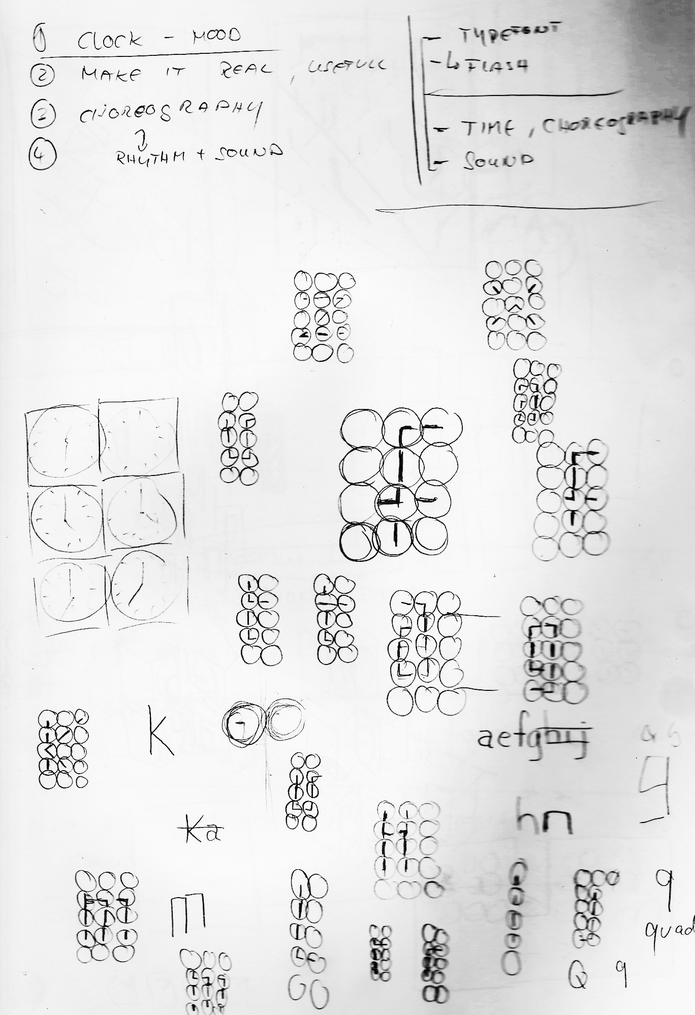 Early sketches of the clock based typography, 2008