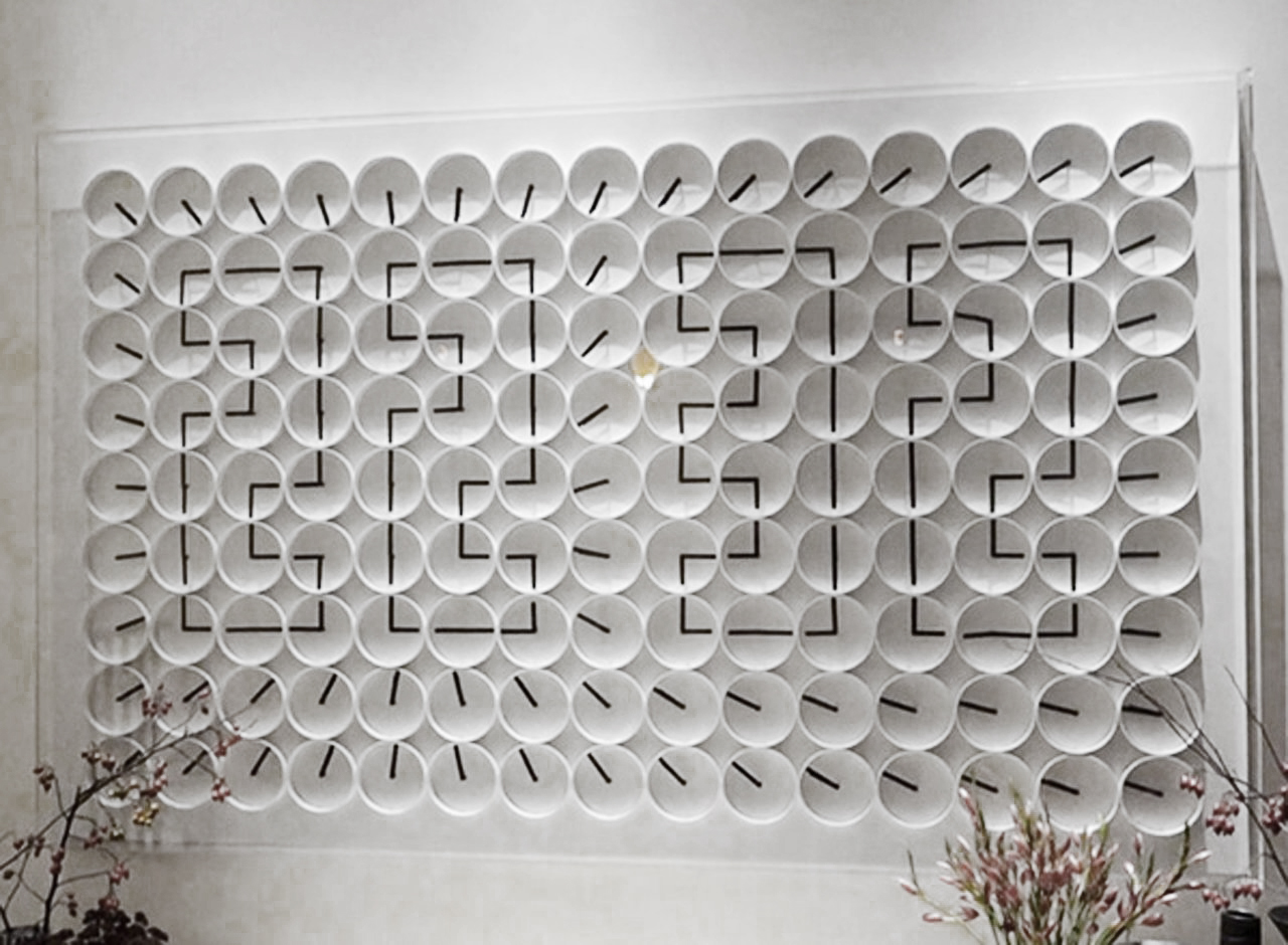 A million Times 135, kinetic artwork made of 135 clocks at Ham Yard Hotel, by Humans since 1982, Stockholm.