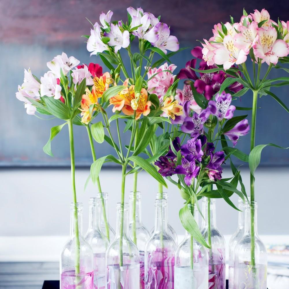 Τα εξαιρετικά  ALSTROMERIA  Τα θέλω στον γάμο μου! Είναι χρωματιστά με λεπτους μισχους και μπορούν να γίνουν ενα εντυπωσιακό centerpiece. Συνδιάστε τα με πρασινάδα!
