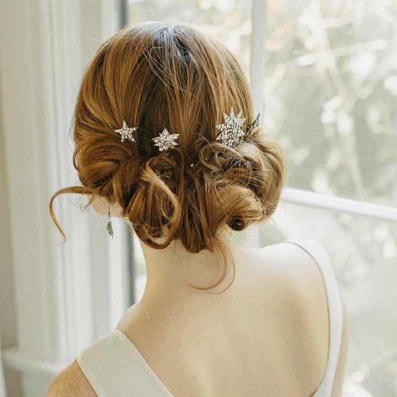 Erica Elizabeth Design    χειροποιητο κόσμημα  Starburst wedding hair pins €215