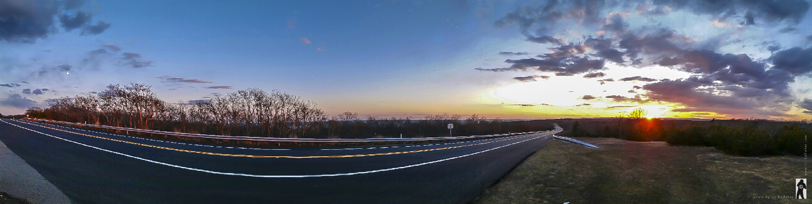 Full Moonrise on the Left / Big Sunset on the Right / Montauk Highway in Between