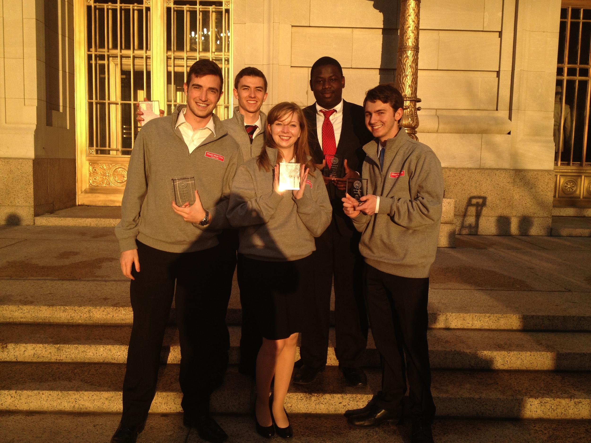 MMT's individual award winners from the Cincinnati, OH regional. Attorneys: Matt Meek (left), John Spear (second to left), Henry Leaman (right). Witnesses: Monika Mudd, Imokhai Okolo.
