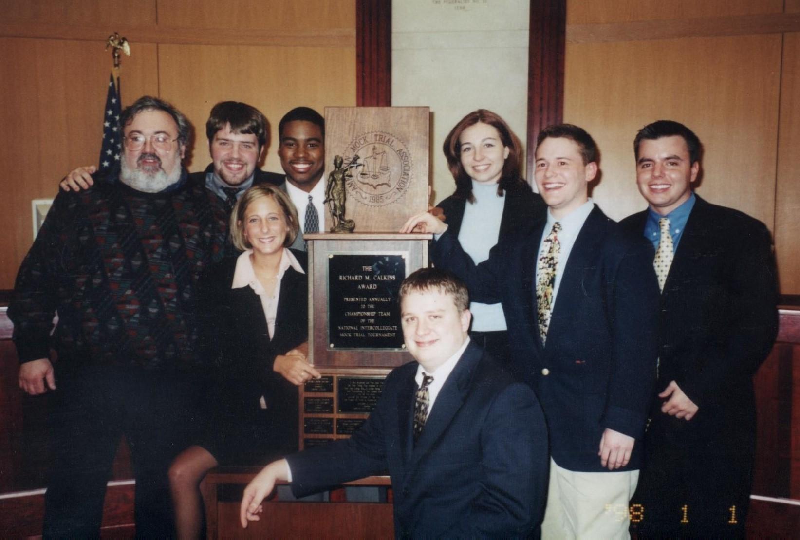 2001 National Champions (Left to right): Dan Herron (Coach), Mark Sedor, Alyson Miller, Dexter Benoit, Mark Thompson, Breane McMullen, Ryan Sobel, Chad Burton