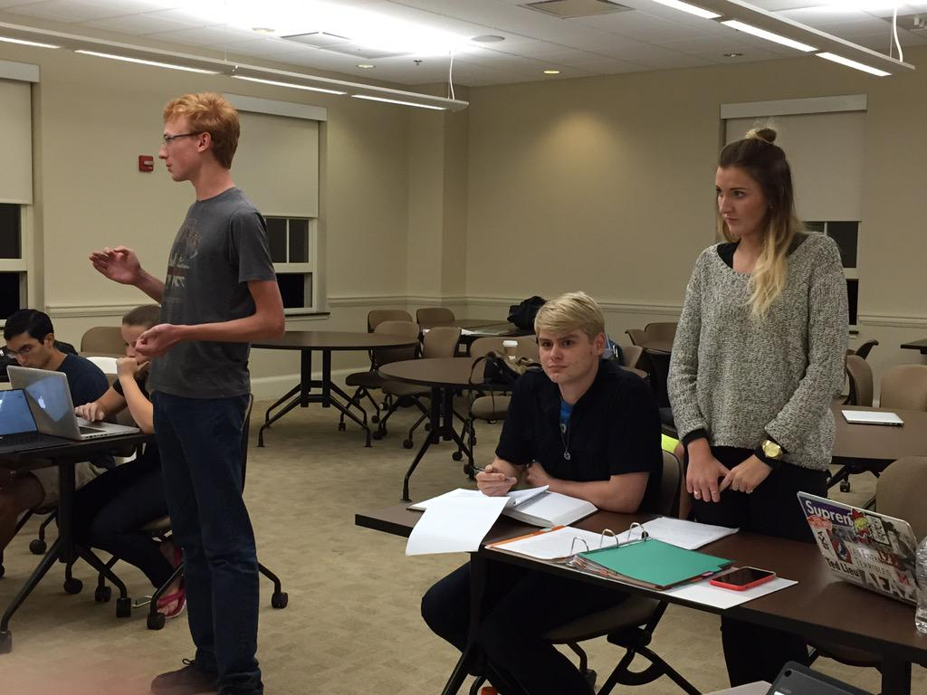 1056 attorneys Spence Campbell (left) and Taylor Schlepp (right) argue objections in a Sunday practice.
