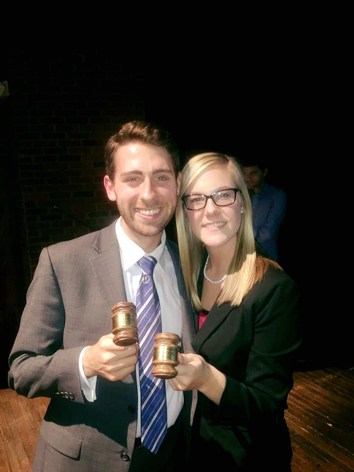 Attorneys Ben Sandlin and Dani Kunkel upon receiving their Outstanding Attorney awards.