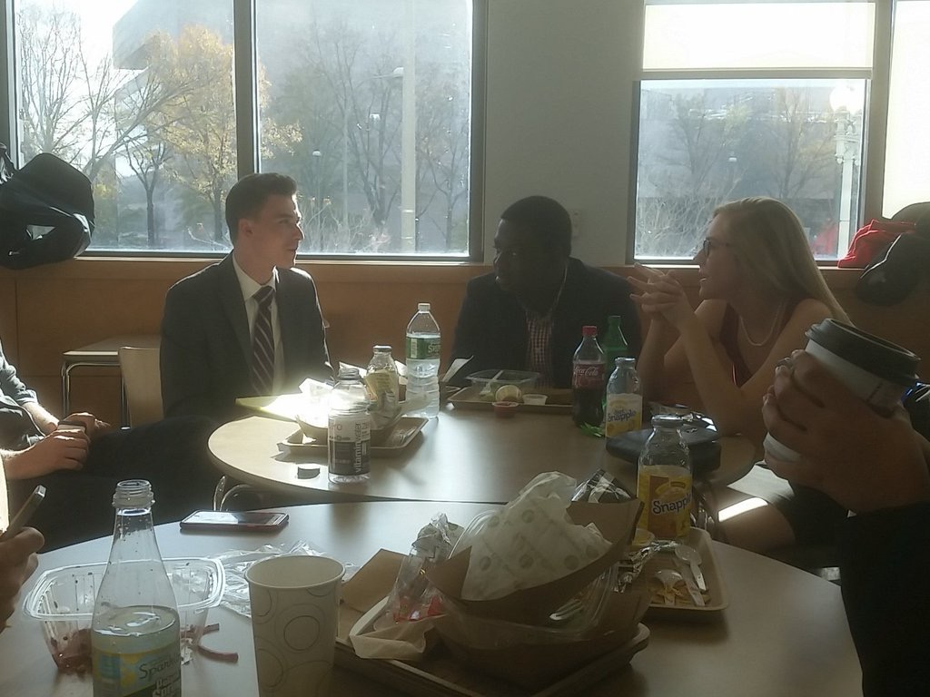 The A team unwinds for lunch. They would need their strength in round two.