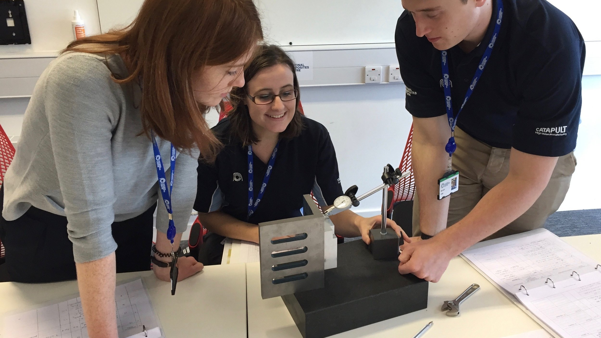 Training delegates on the NPL Dimensional Measurement User (Level 1) course working through their practical assignments.