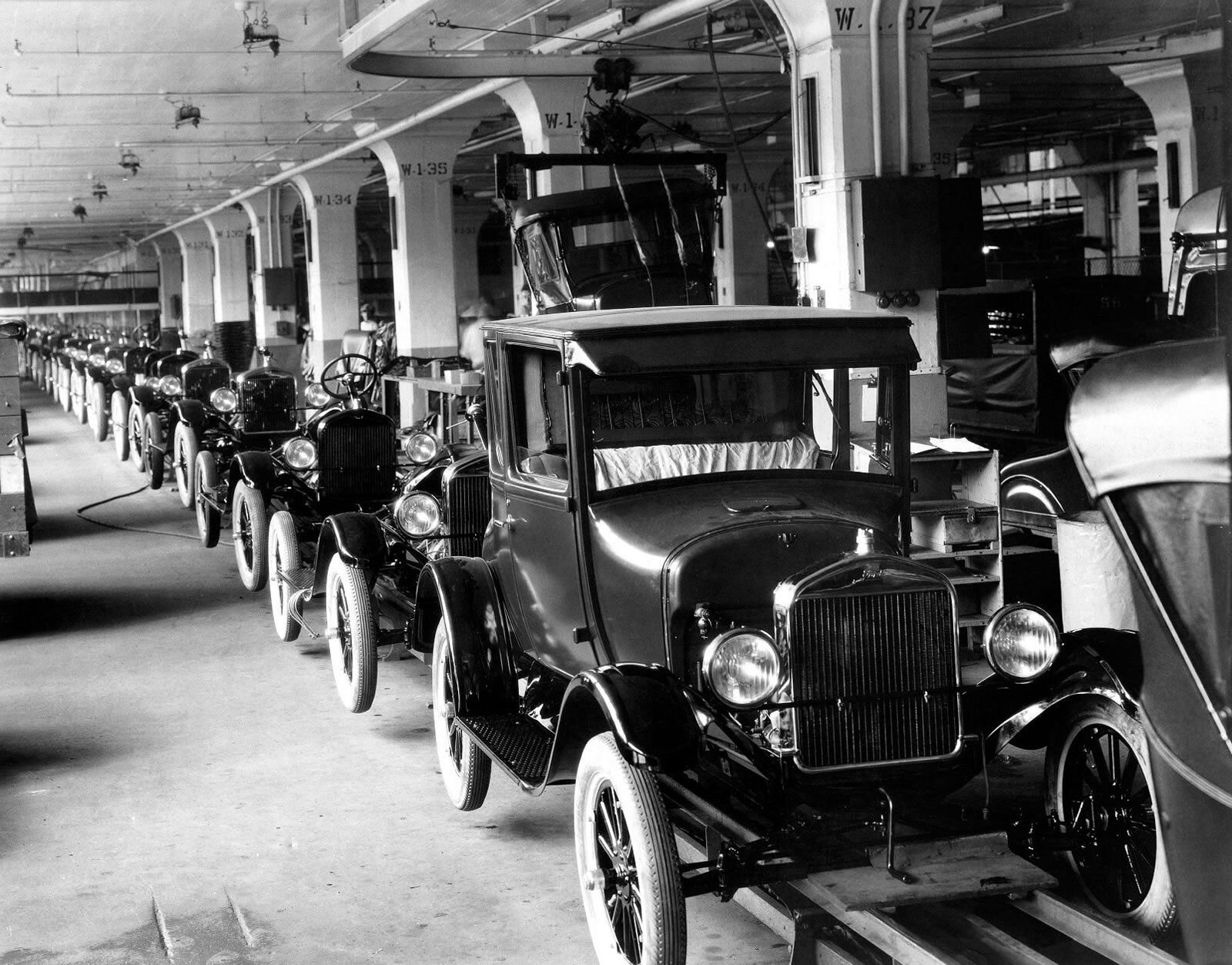 Model T Ford production line.
