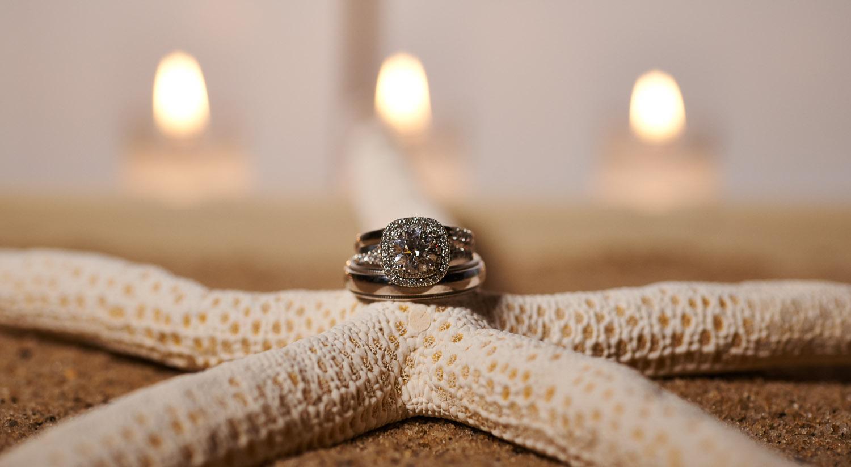 Wedding rings on starfish