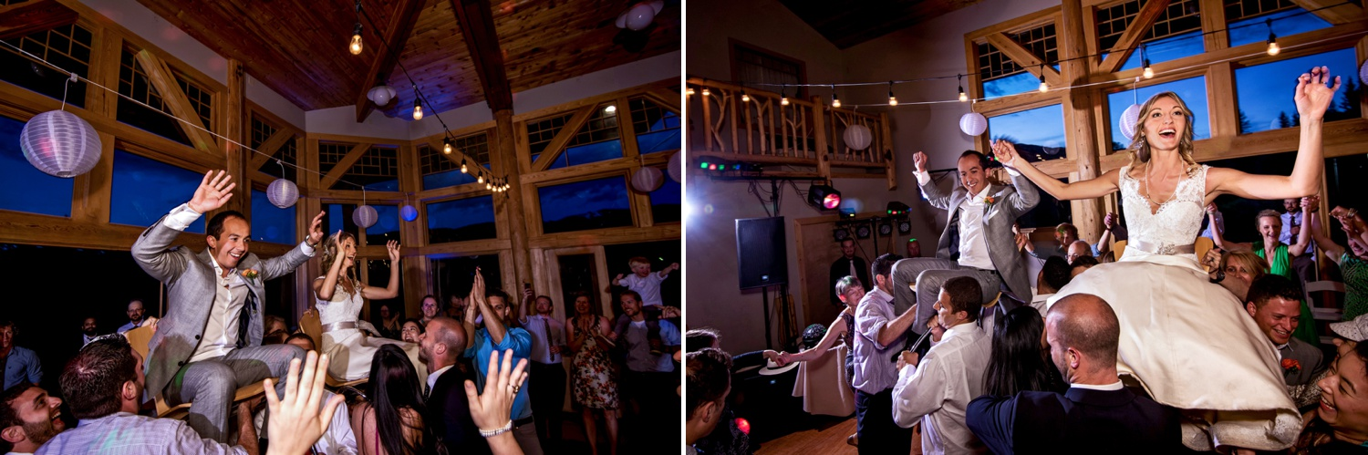 Hora dance at Ranch wedding at Perry-Mansfield in Steamboat Springs, Colorado.
