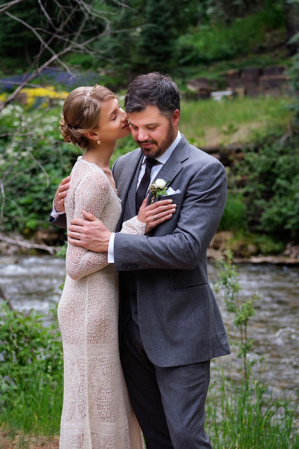 Fashion model Anna Selezneva's wedding in Vail Colorado.  Wedding ceremony at the Vail Chapel.  Wedding reception at The 10th on Vail Ski Resort.