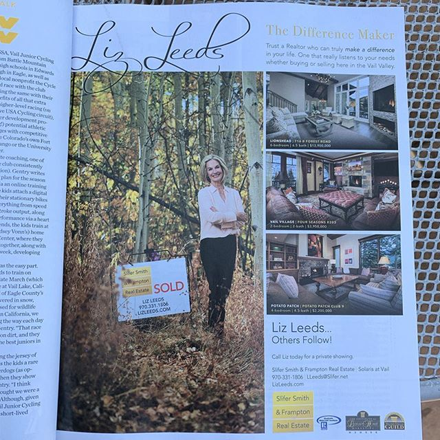 @lizleedsrealestate , ad looks great in Vail Beaver Creek Magazine with the photo we took in the Fall!