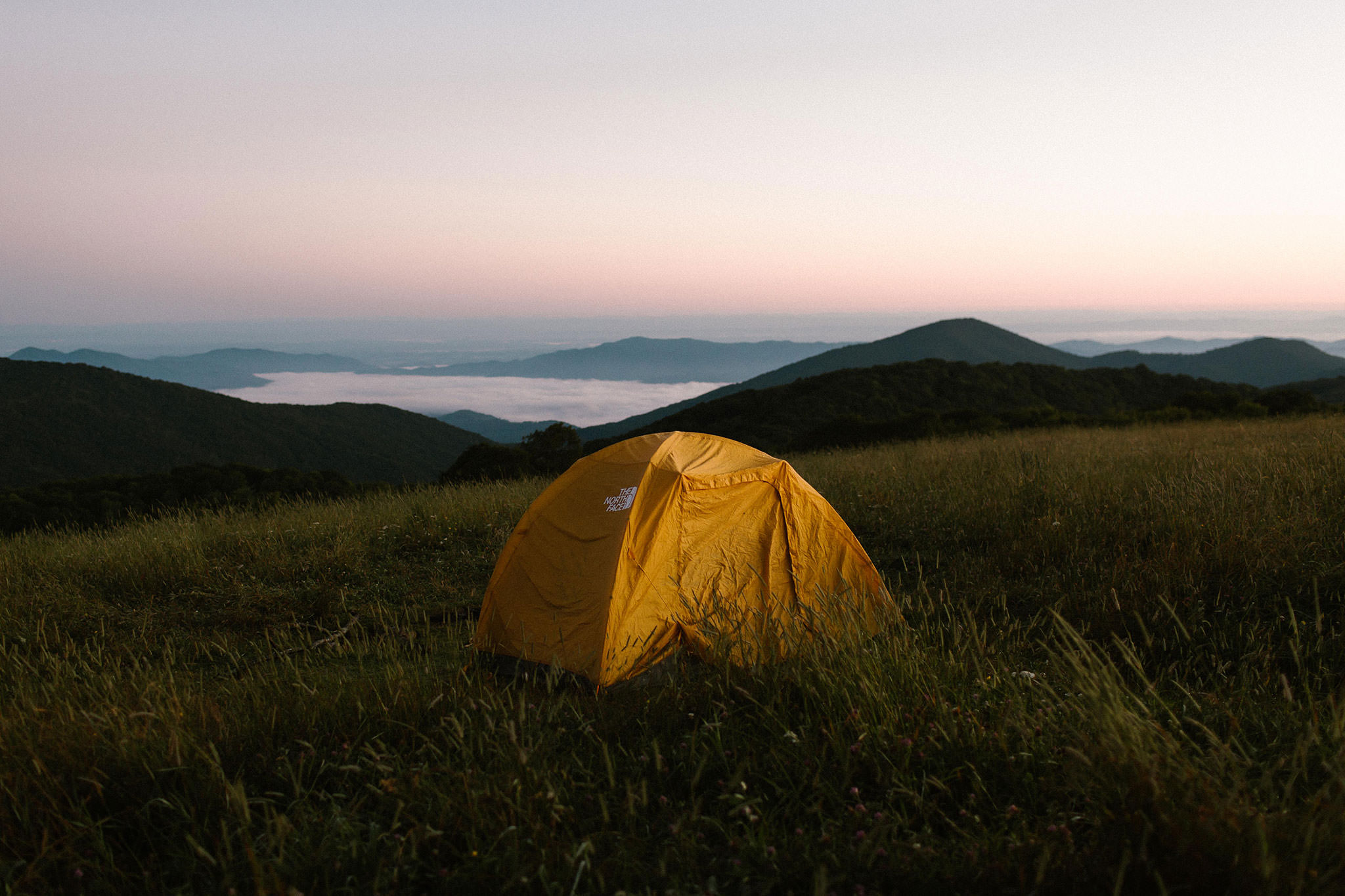 Just before sunrise on Max Patch mountain