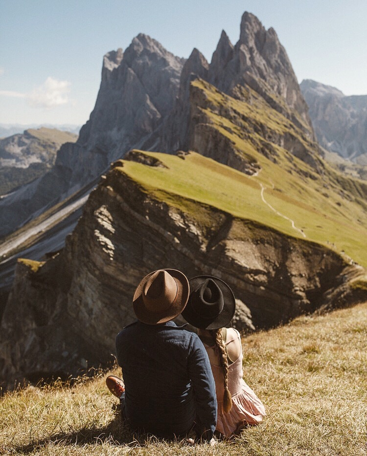 Enjoying the view at Seceda in the Italian Dolomites