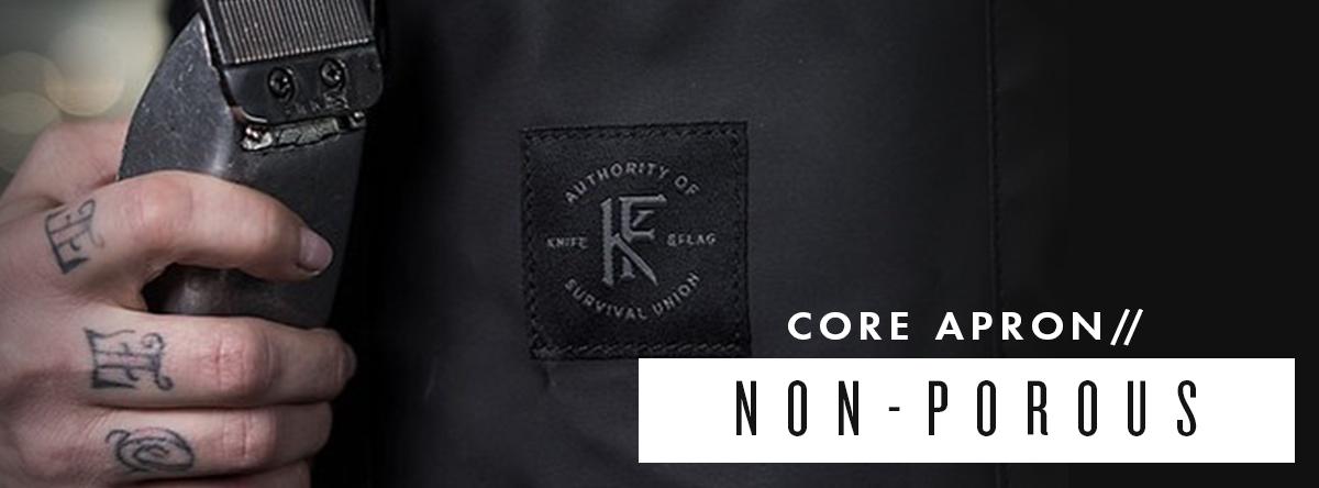Non Porous Core Apron Black   Knife & Flag