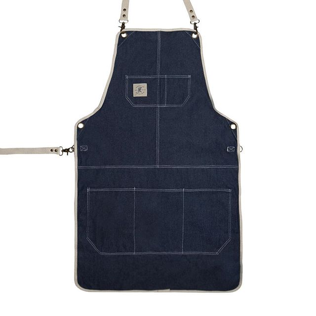 DENIM APRON // DURABLE CLASSIC-LENGTH APRON, PERFECT FOR COVERAGE FROM CHEST TO MID THIGH... #apron #knifeflag #knifeandflag #survivalunion #craftsman #barber #woodworking #maker #barberlife #mechanics #bartender #bar #tattooartist #craftsmanship #shoplocal