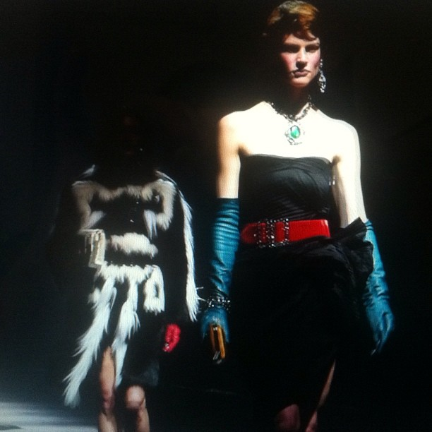 FILM STILL OF SASKIA DE BRAUW FROM LANVIN FALL WINTER 2012/2013 FEMME REHEARSAL AS SEEN BY SOME/THINGS, FILMED AND EDITED BY NAT URAZMETOVA, IN COLLABORATION WITH ETIENNE RUSSO & VILLA EUGENIE