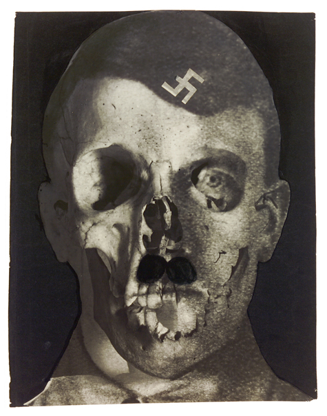 erwin blumenfeld,  hitler (with swastika), grauenfresse , [hitler (with swastika), face of terror] holland, 1933. collage and ink on photomontage (gelatin silver print, double-exposition), multiple negatives, collection helaine and yorick blumenfeld, courtesy of modernism inc., san francisco © the estate of erwin blumenfeld