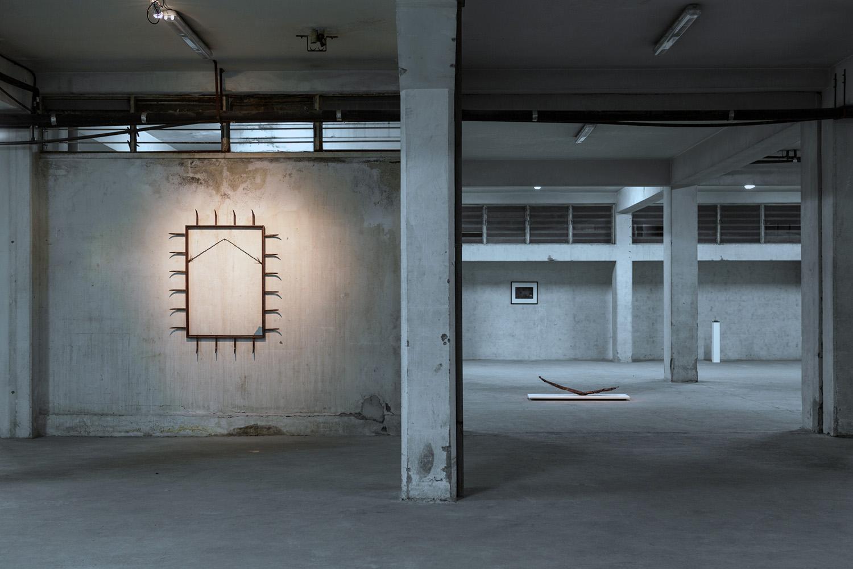 dimitris merantzas, self-portrait, meat hooks, wire, piece of broken mirror 2003 -146 x 114 x 10 cm