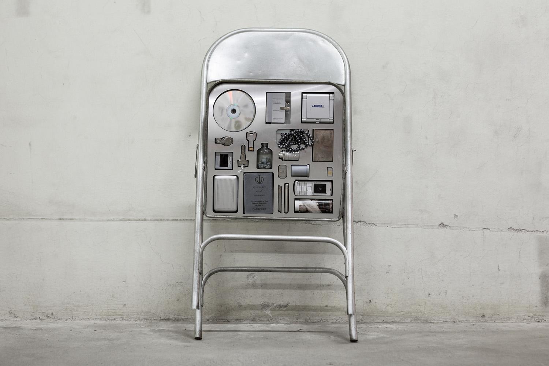 nazgol ansarinia - p  rivate assortment series,  metal chair, mixed media, 2013 -   80 x 46 x 50 cm