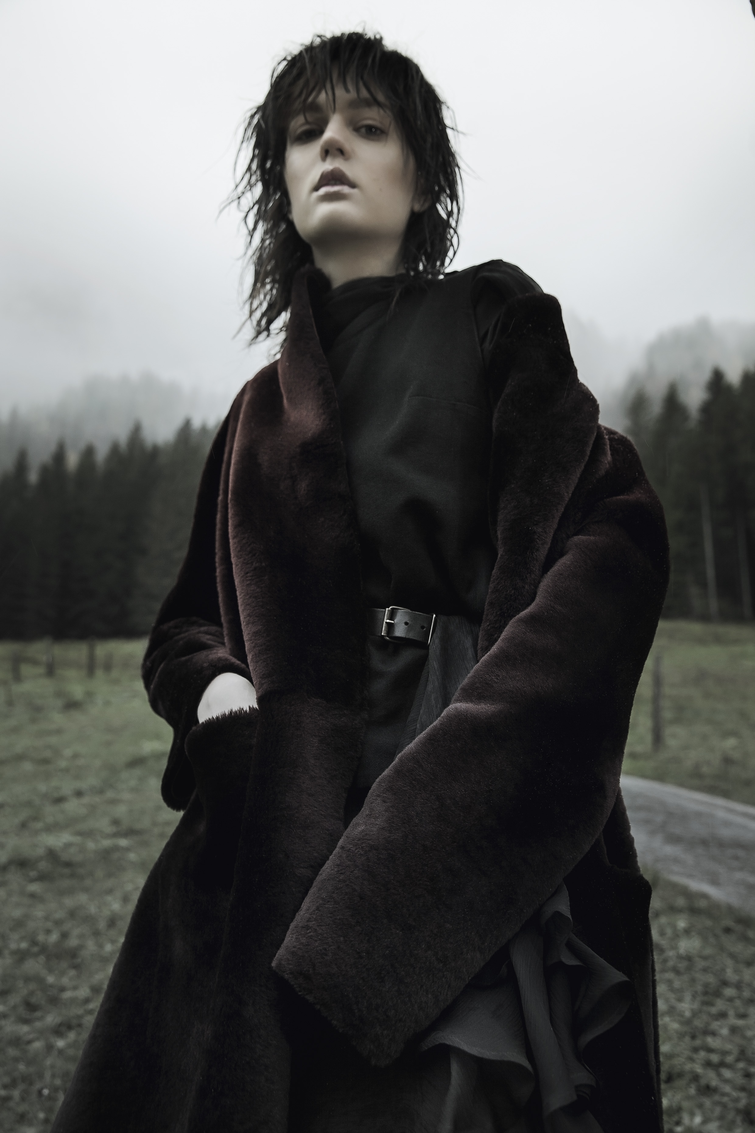 Burgundy shearling fur coat by Ines et Marechal | Black chiffon flared dress by Olivier Theyskens | Burgundy leather legging by Ines et Marechal | Black leather belt by Lanvin