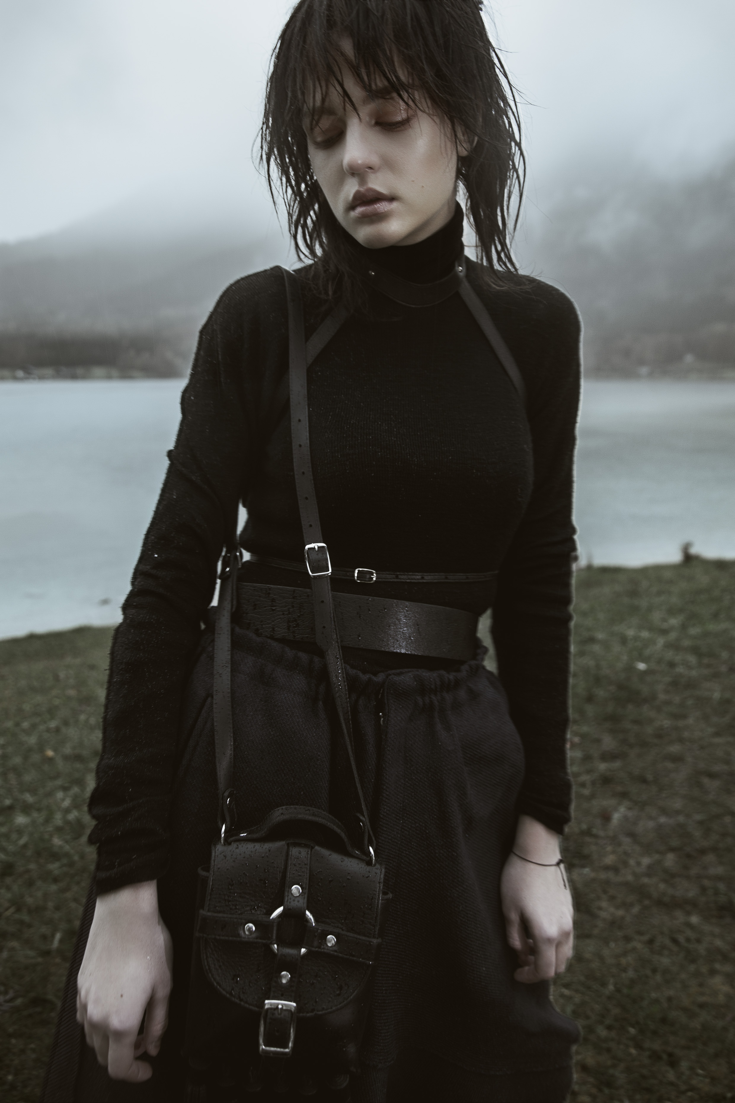 Black merinos turtle neck by Lanvin |Elastic A skirt by Moon Young Hee |Leather harness and Tassel bondage tassel handbag by Zana Bayne |Textured leather belt by Givenchy
