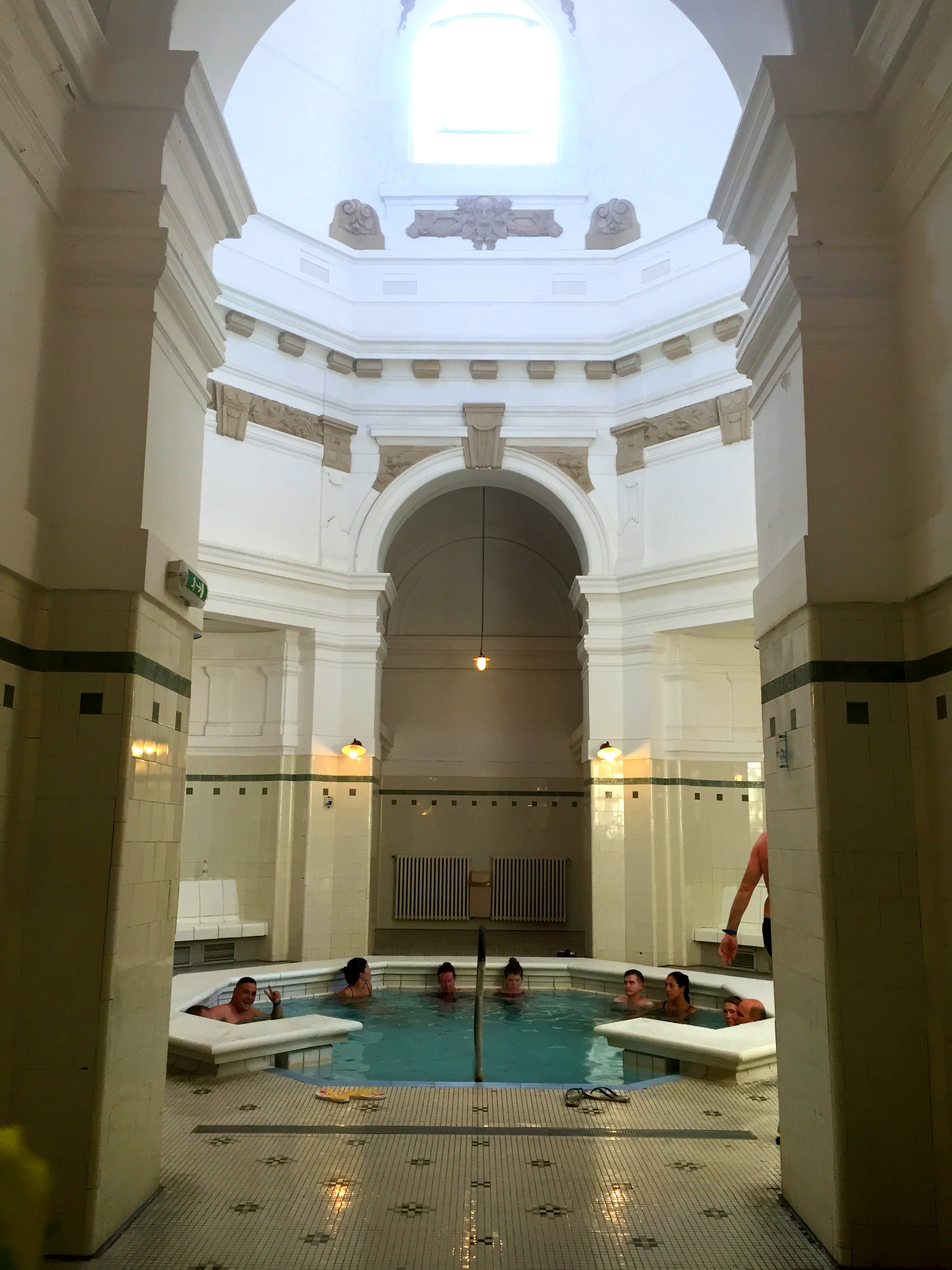Taking part in a favorite pastime at the largest thermal bath in Europe,   Szechenyi Baths.