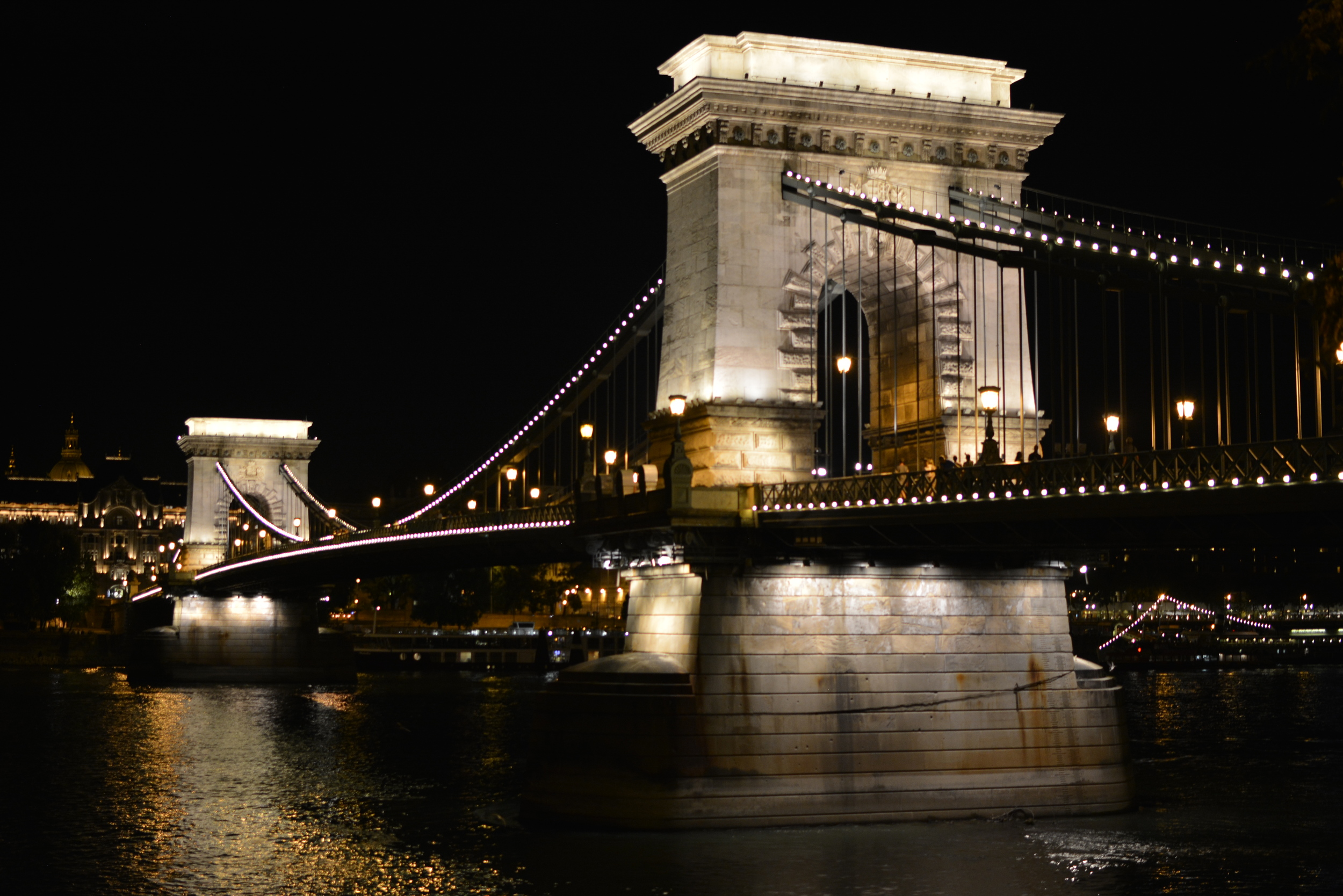 The Chain Bridge spans the Danube linking Buda and Pest, the western and eastern side of the capital city.