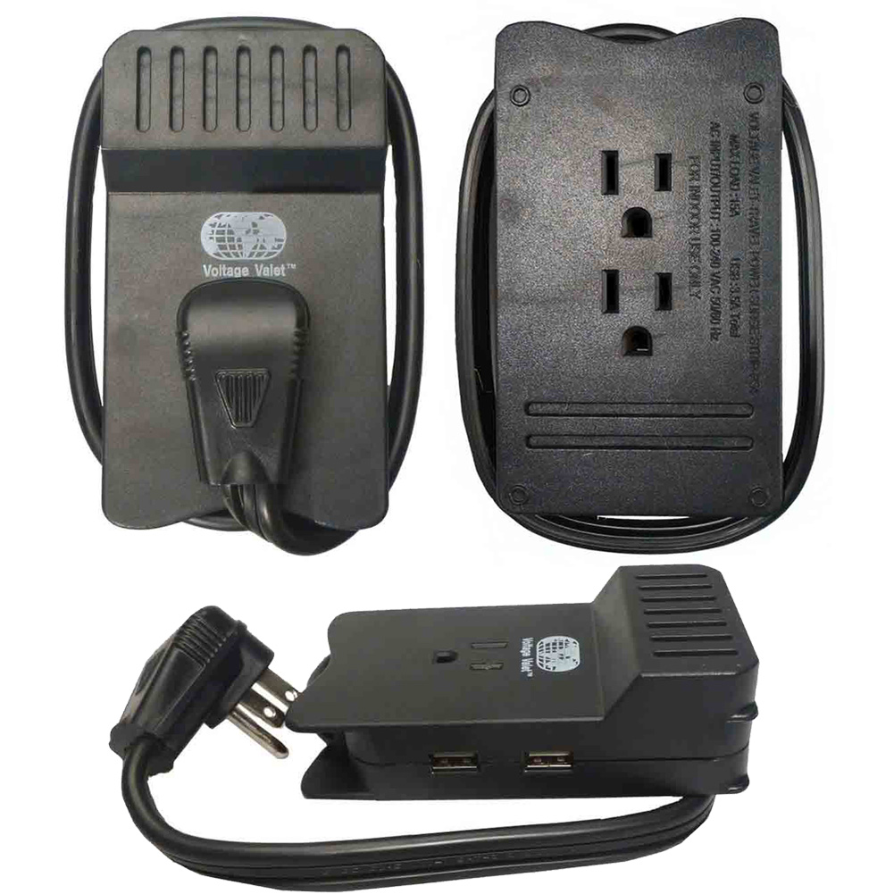 Dual Voltage Travel Power Strip with Built In Surge Protection 3 AC Outlets 2 USB Ports
