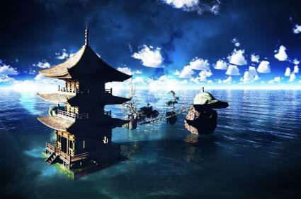 Bhutan Temples in water
