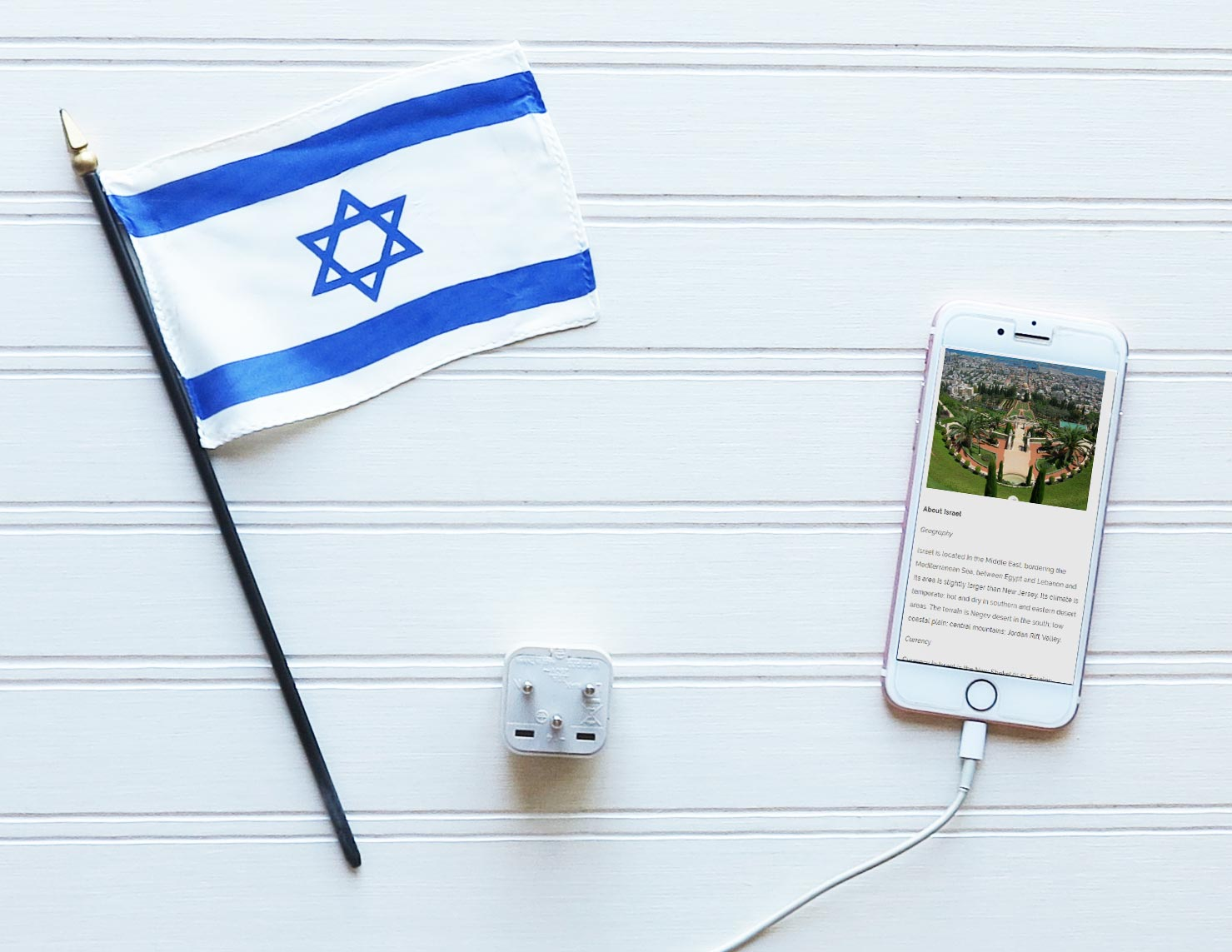 Grounded Israel Adapter Plug To Charge Your iPhone