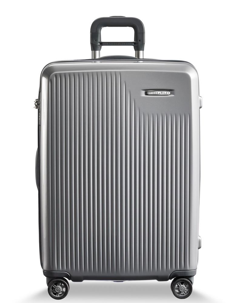 Briggs & Riley Silver Large Checked Suitcase