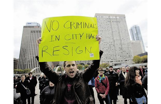 Protests outside of Toronto City Hall  via leaderpost.com