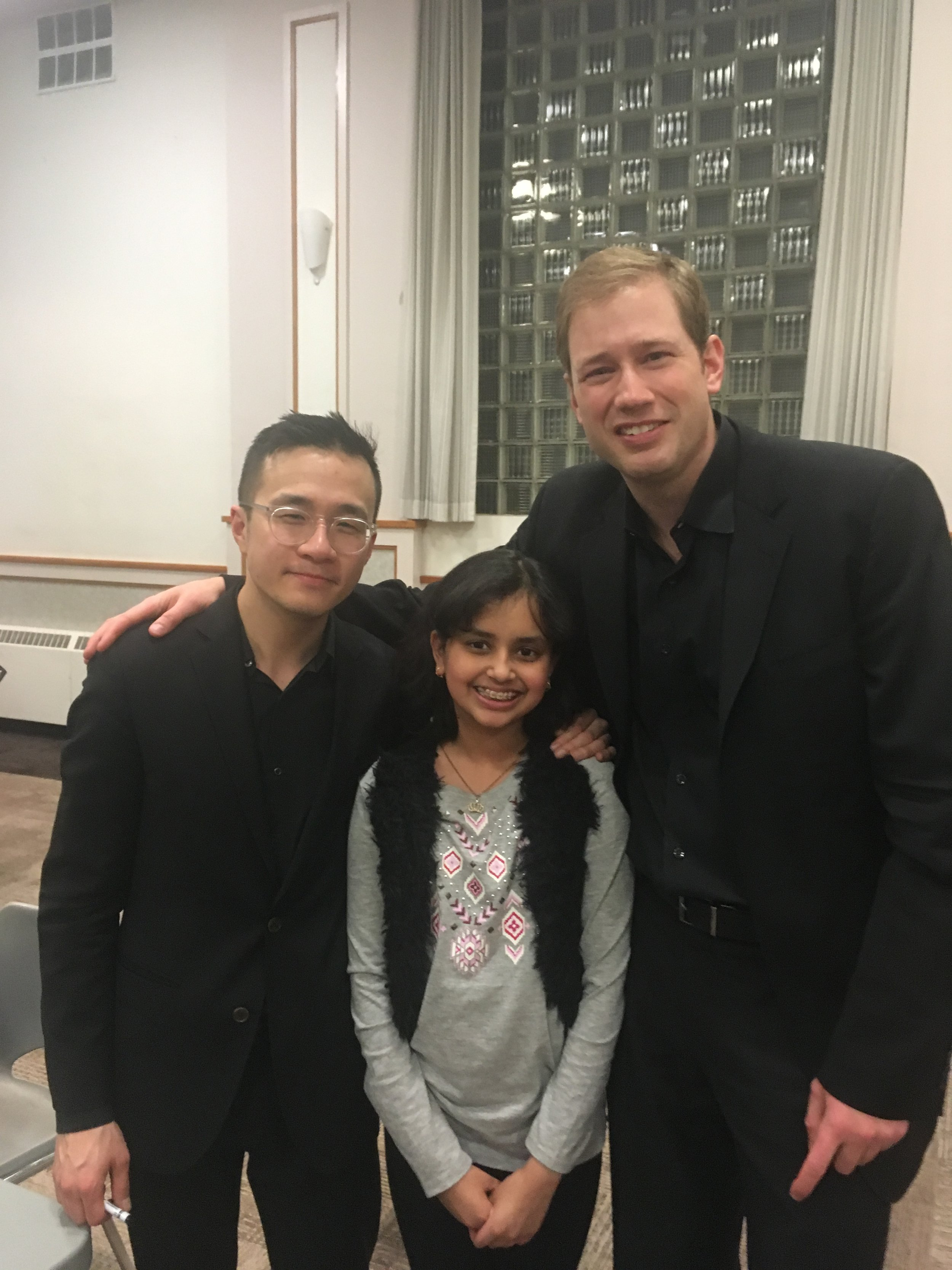 Sejutee, with violinists Andrew Wan and Jonathan Crow.
