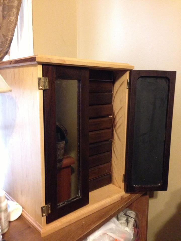 Sugar Maple Jewelry Box by Tyler Parker     Doors and drawer fronts made of black walnut. Inside drawers made of soft maple. Also includes a music box that plays Swan Lake