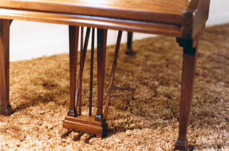 Detail of Stevie Wonder's piano style coffee table built by George Wurtzel