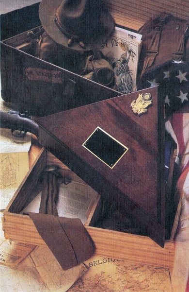 George's commemorative flag case made from cherry wood and has sold over a million pieces.