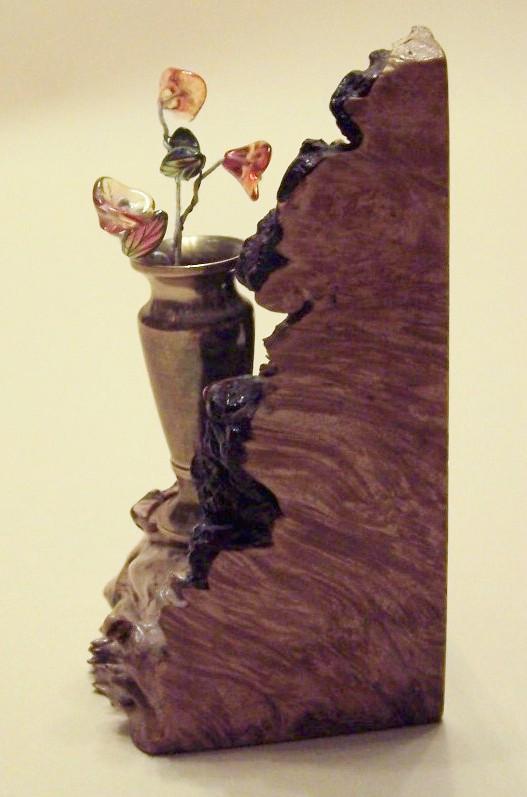 Burl Platform with miniature brass vase.