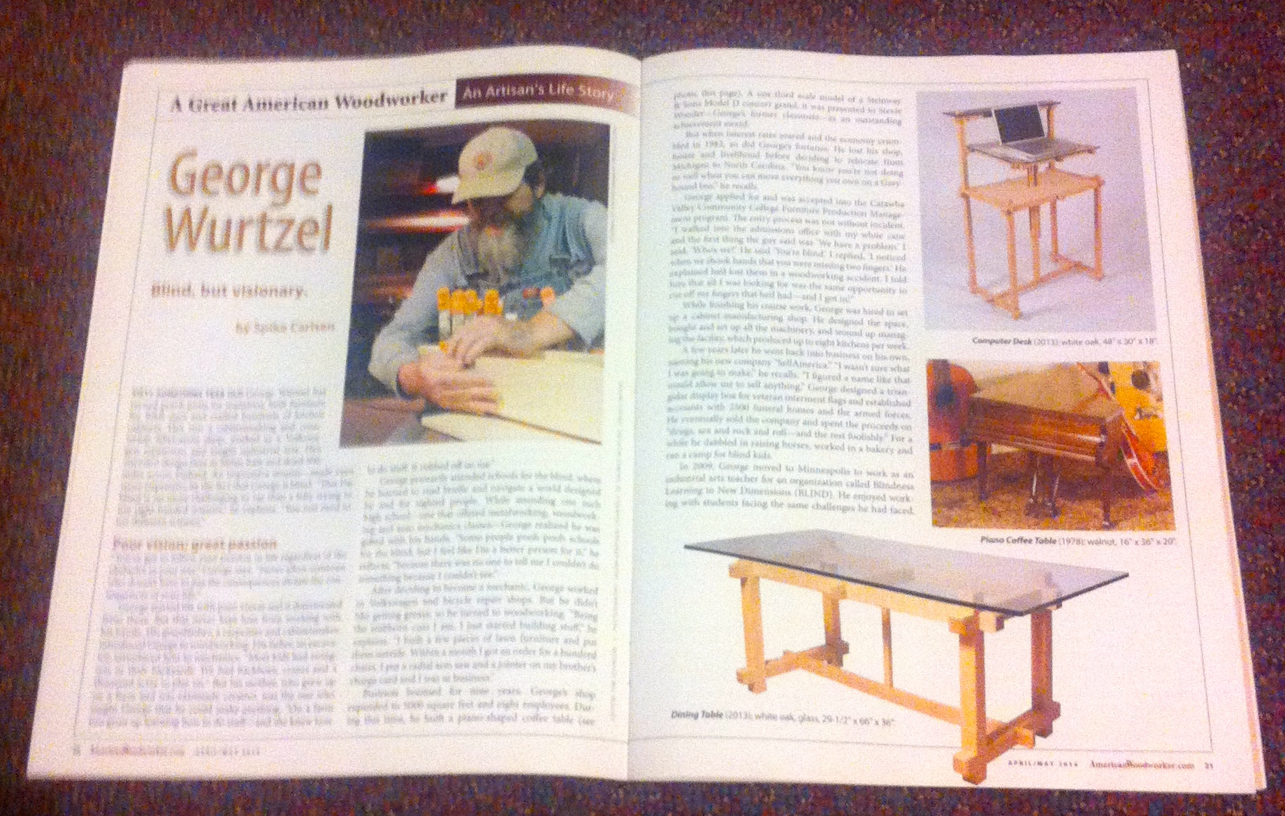 American Woodworker Magazine April / May 2014 featuring George Wurtzel