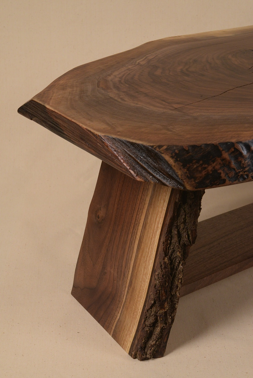 Close view of one end of the Rustic Walnut slab table built by George Wurtzel