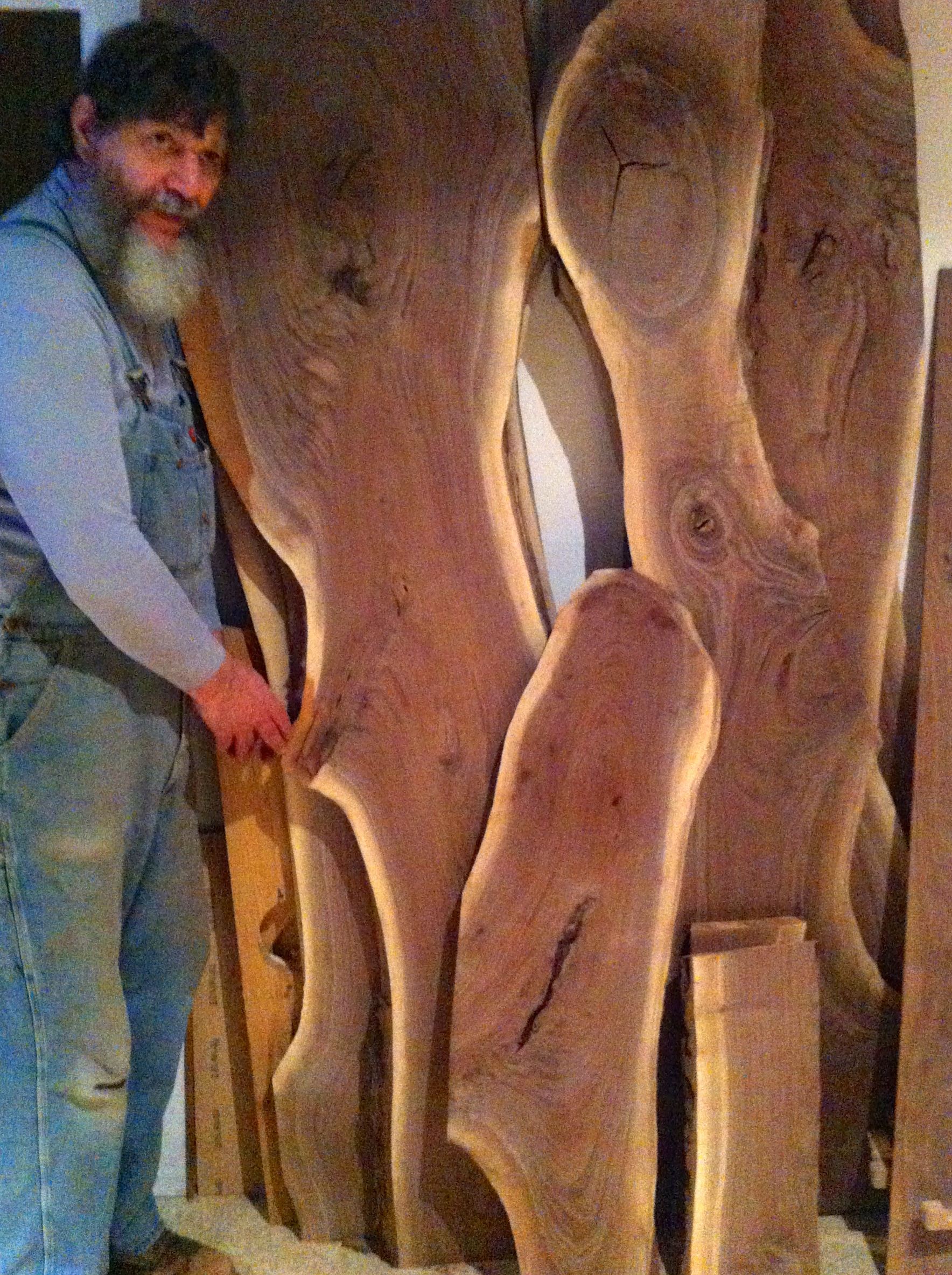 George Wurtzel with walnut Slabs