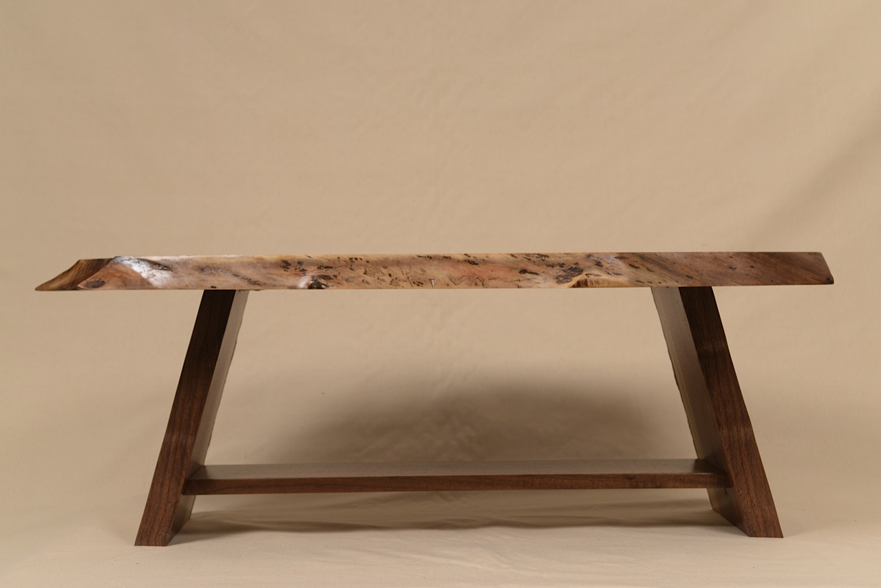 Side View of Rustic Walnut table