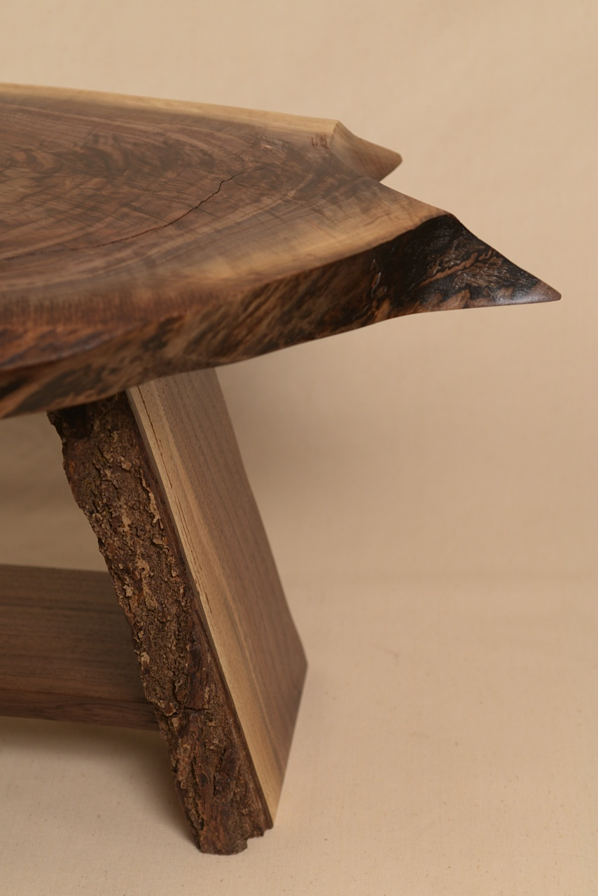 Natural live edge on rustic table top and bark edge on table base.  Table by George Wurtzel, photo Sean Smuda.