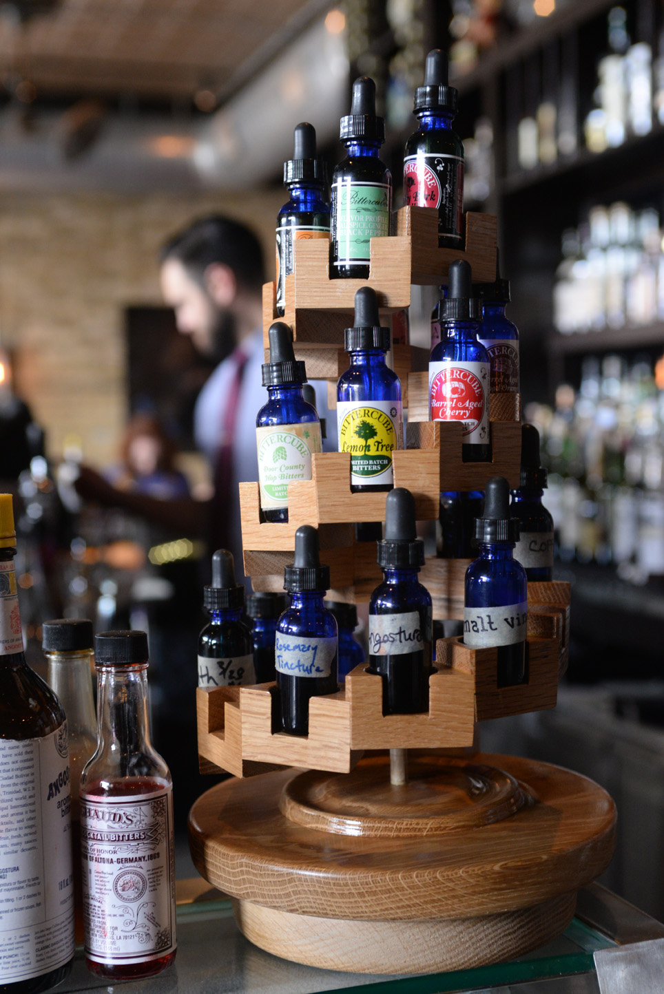 Bitters display stand I designed and made. You can see it at Eat Street Social on 26th Street, in Minneapolis, MN
