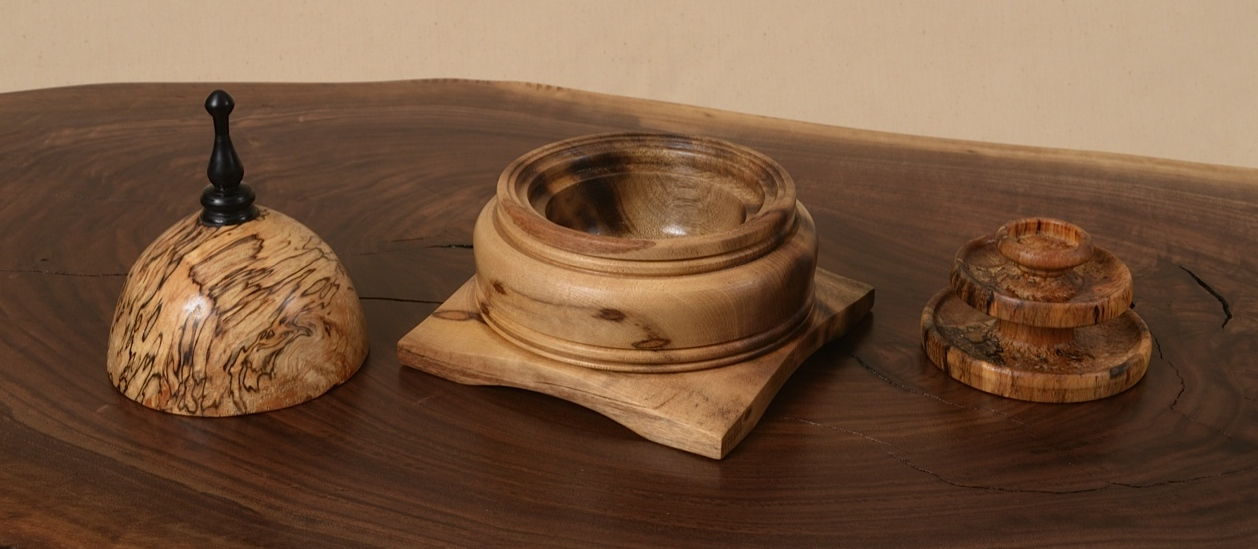 3 pieces of spalted birch jewelry box made by George Wurtzel