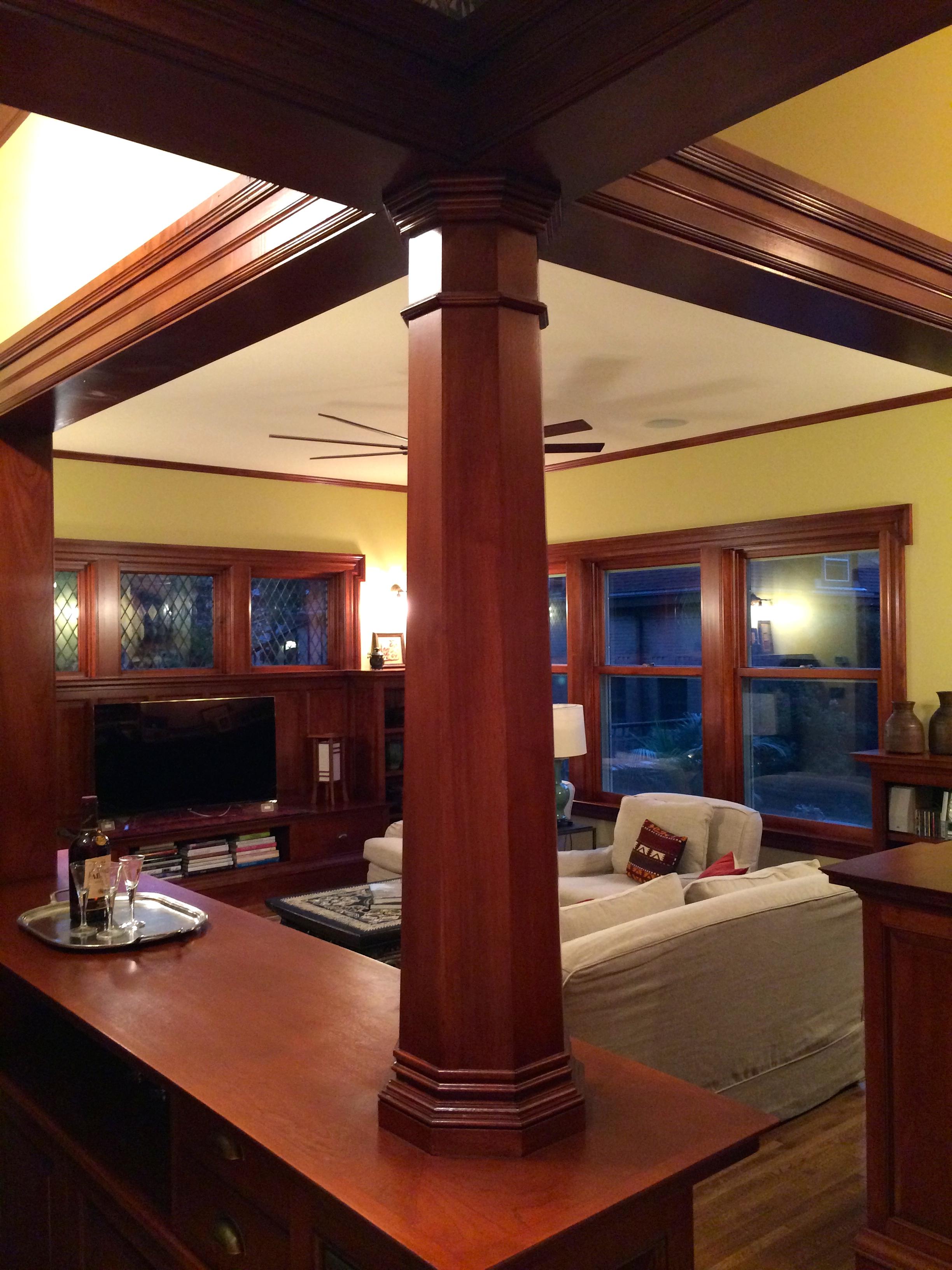 Pillar as seen looking toward the living room.