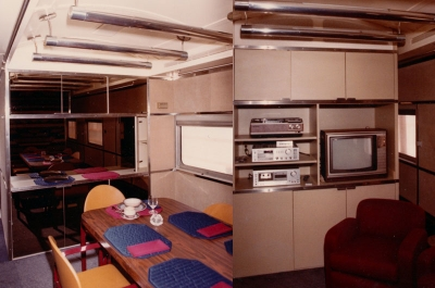 Interior of an old pullman train car I renovated for a client in the late 1970's. He had it custom trimmed the way he wanted it and used the car to travel the country.