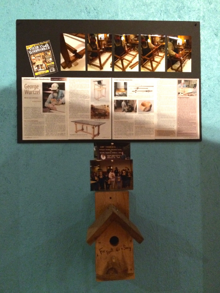 Camp T Birdhouse and photo of the campers who built it.  Above that is an article about George that was published in the April/May 2014 issue of American Woodworker.