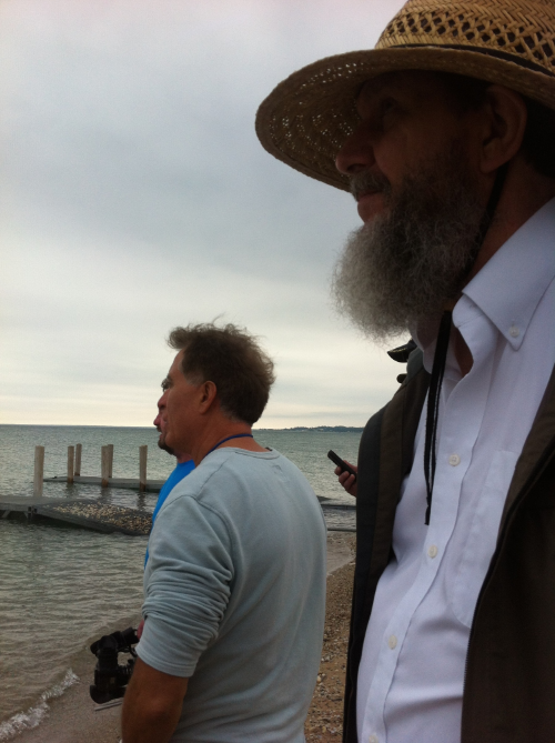 George and Keith look out at the Maire's boat after launching at Cross Village