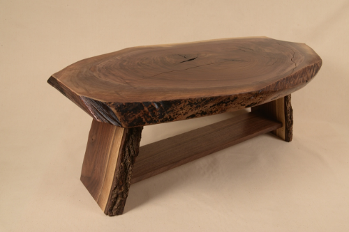 Rustic Walnut slab table built by George Wurtzel from tree harvested in Minneapolis, MN